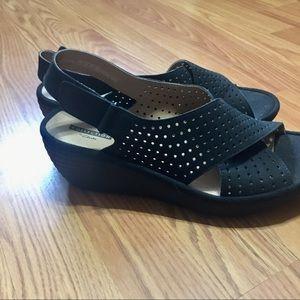 Clark's black suede sandals NWOT